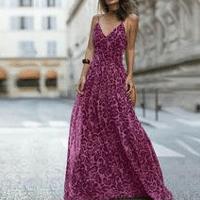 Sexy Leopard Print Sleeveless Maxi Dress