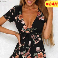 Floral Ruffled Deep V-Neck Mini Dress with in 24H Free Shipping